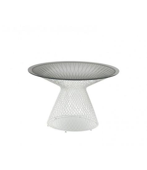 Tavolo tondo con piano in cristallo Ø 120 - Il Giardino - Sorrento