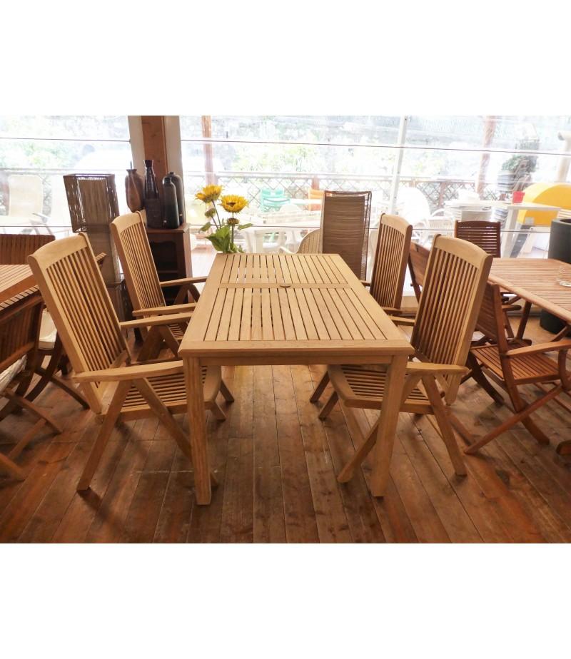 Tavolo in legno teak completo di 4 poltrone il giardino for Tavolo legno teak